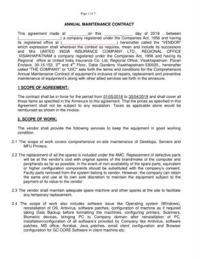 annual maintenance agreement format 2018 19 1