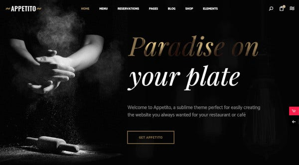 appetito theme for fast food restaurants cafes and pizzeria