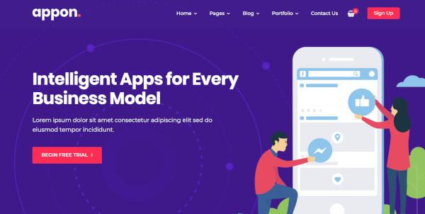 appon – tech startup wordpress theme