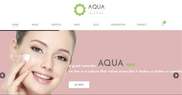 aqua – beauty and spa responsive wordpress theme