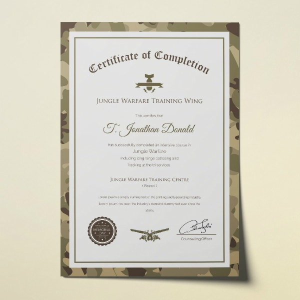army training completion certificate format