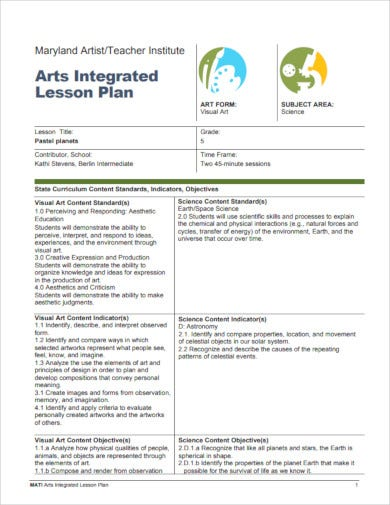 arts integrated lesson plan
