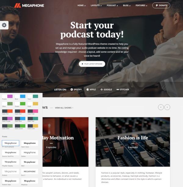 audio podcast wordpress theme