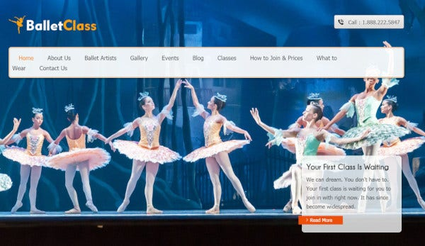 ballet dance responsive wordpress theme