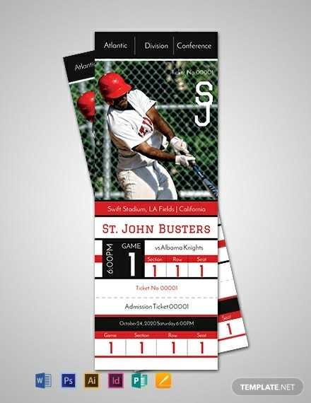 baseball event admission ticket example