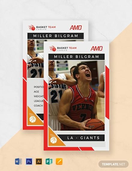 basketball team trading card design