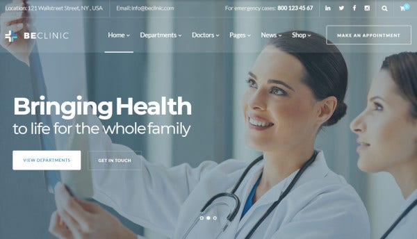 beclinic a multipurpose wordpress template