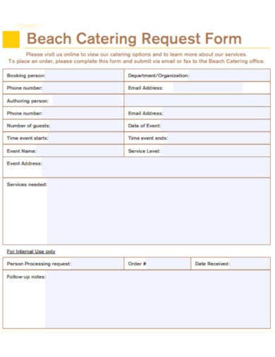 beach catering request form