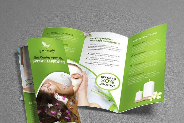 beauty spa trifold brochure template