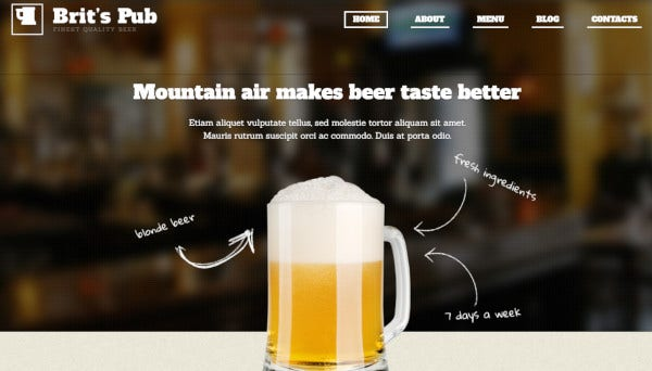beer pub search engine friendly wordpress theme