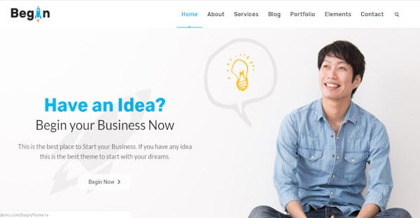 begin startup startup wordpress theme