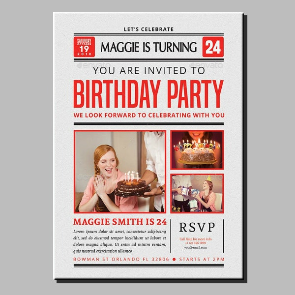 Birthday Newspaper Flyer Layout