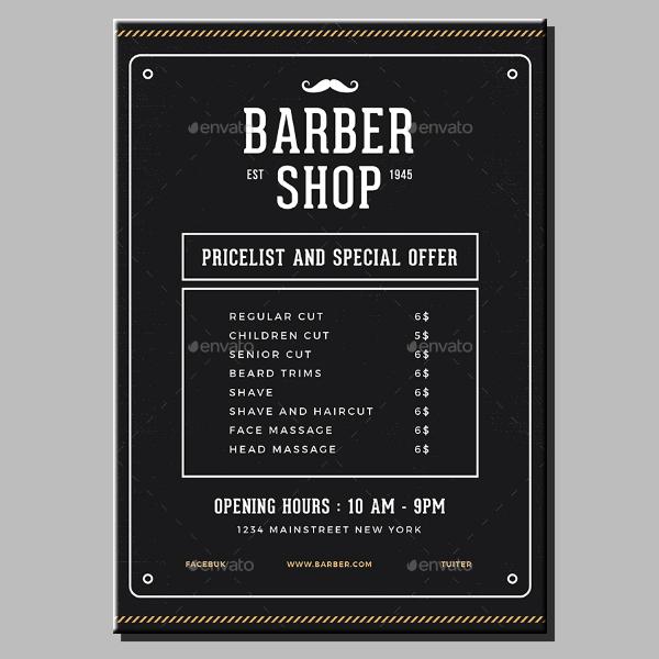 black barber pricelist flyer design
