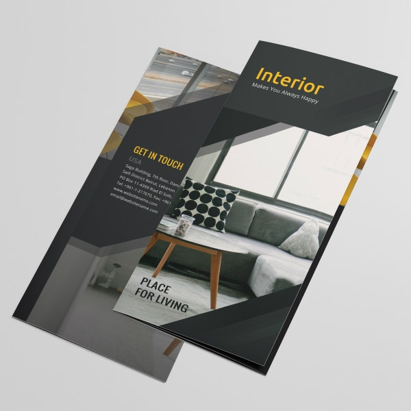 black interior design tri fold brochure