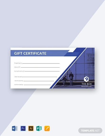 blank business gift certificate format