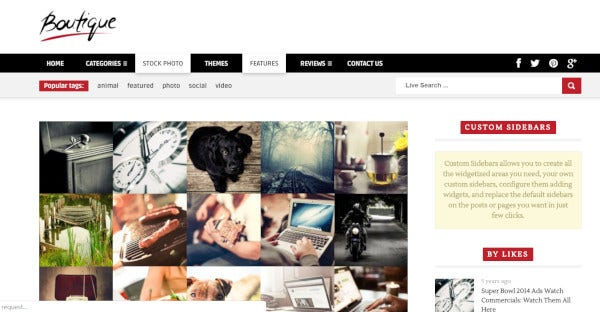 boutique grid integrated google fonts wordpress theme
