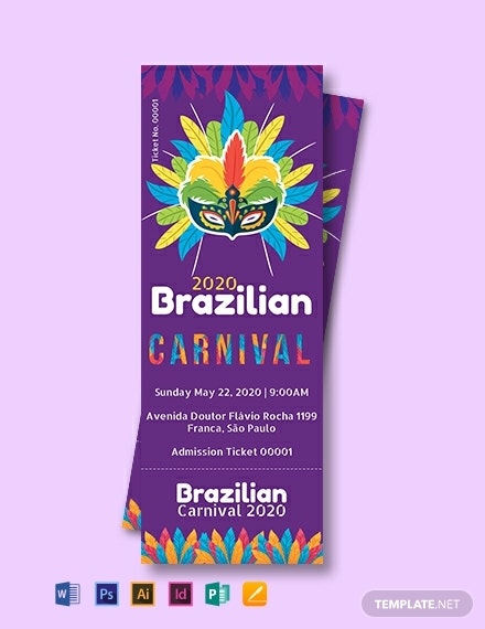 brazilian carnival admission ticket template