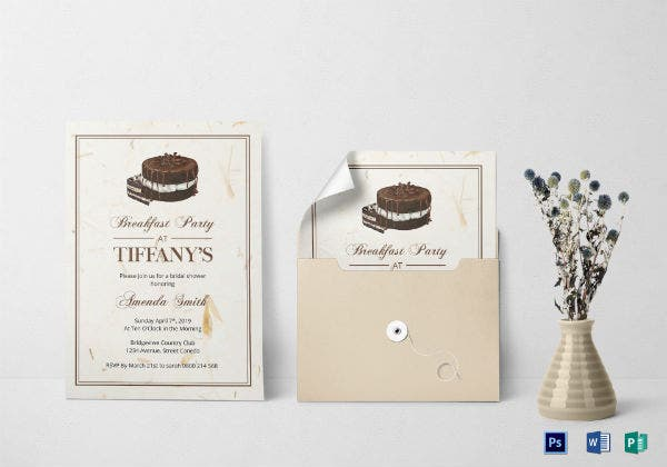 bridal shower breakfast invitation template