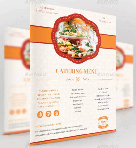 business catering menu design
