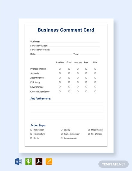 business comment card template