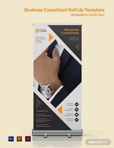 business consultant roll up banner template