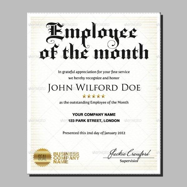 Business Employee Certificate Award Format