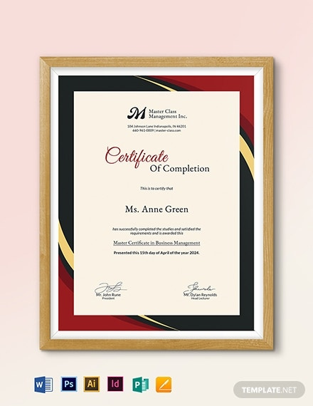 business management completion certificate template