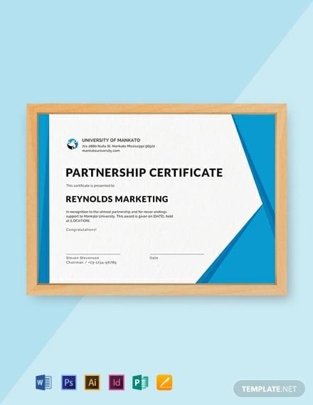 business marketing partnership certificate example