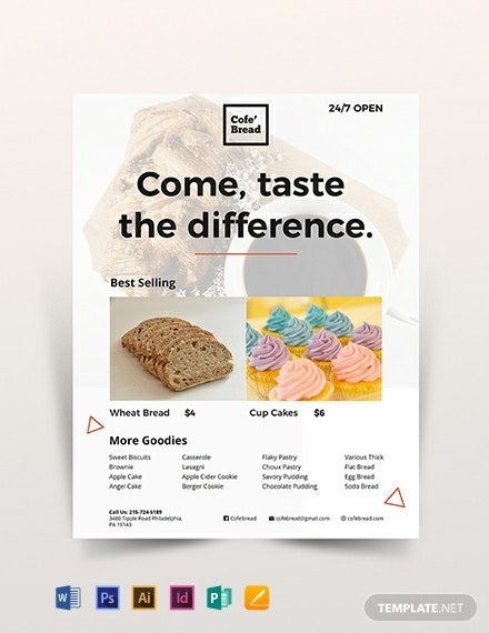 cafe bakery business flyer template