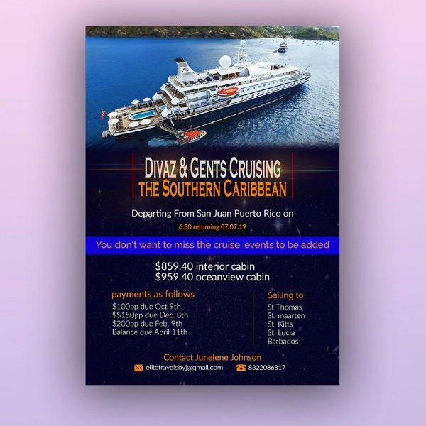 caribbean cruise ship flyer format