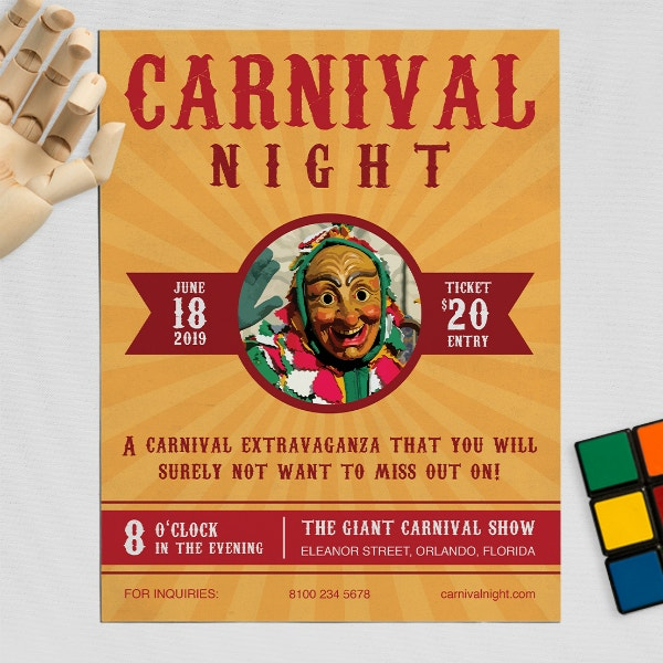 carnival night party flyer design