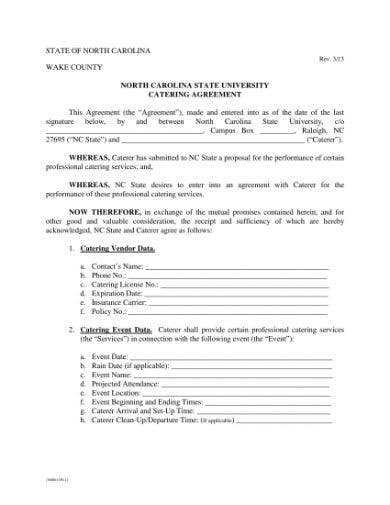 catering agreement 1