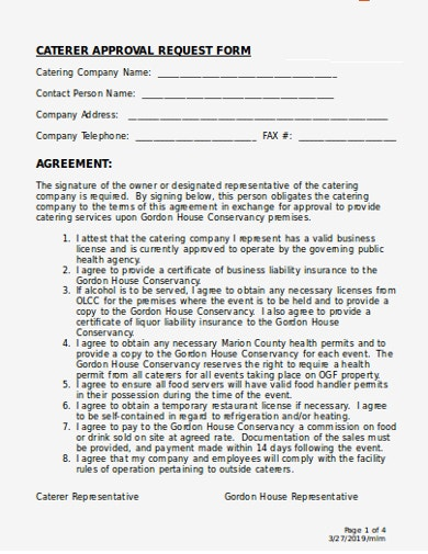 catering approval request form