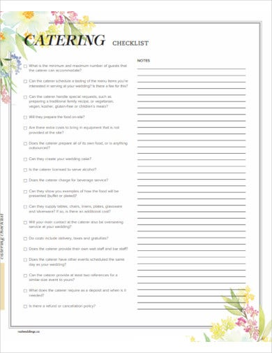 catering checklist example