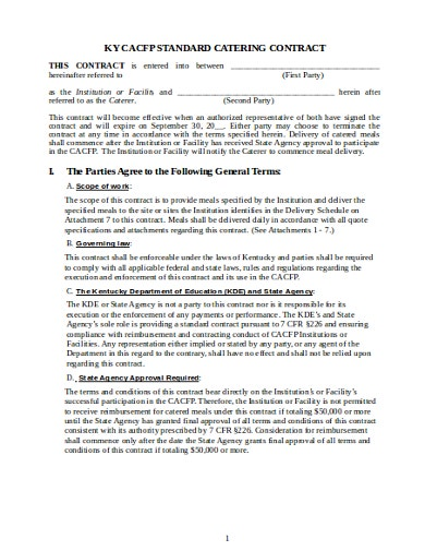 catering contract agreement format