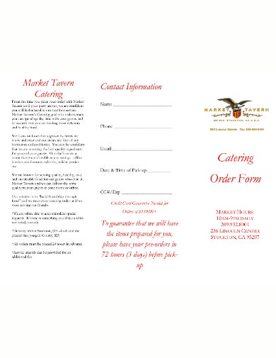 catering event order form