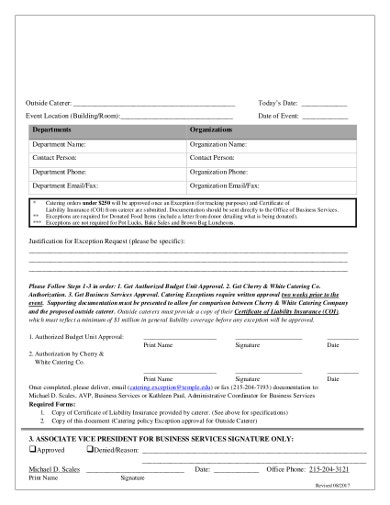 catering exception form