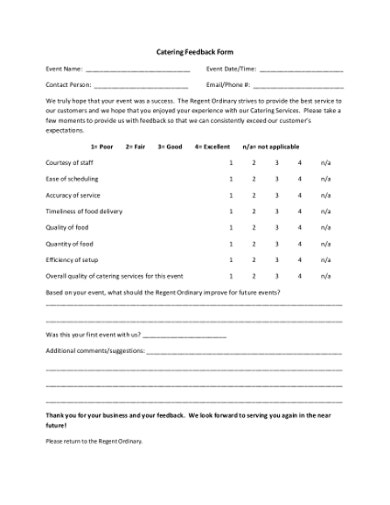 catering feedback form