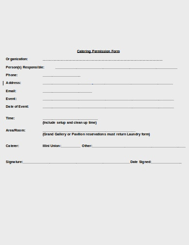catering permission form