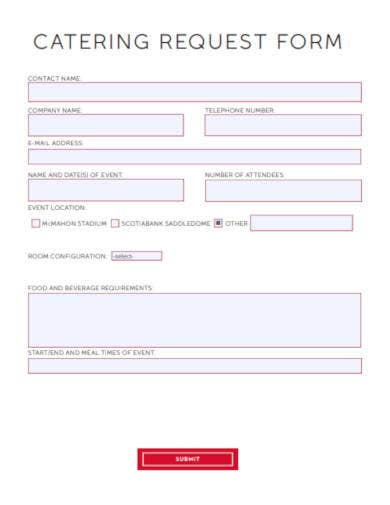 catering request form example