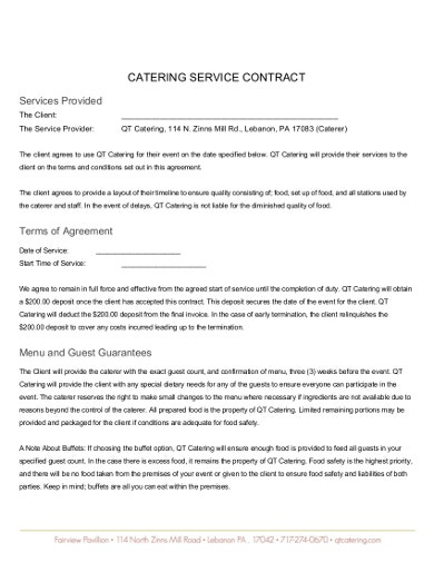 12  catering agreement templates