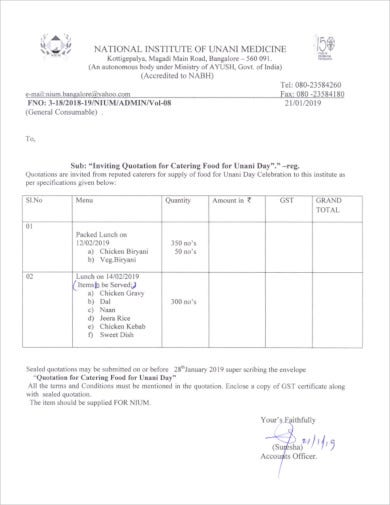 catering services quotation template