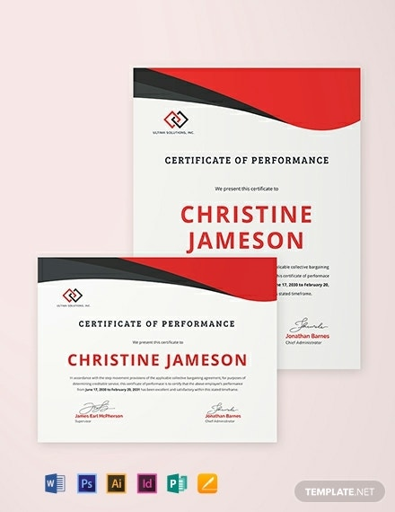 certificate of performance template