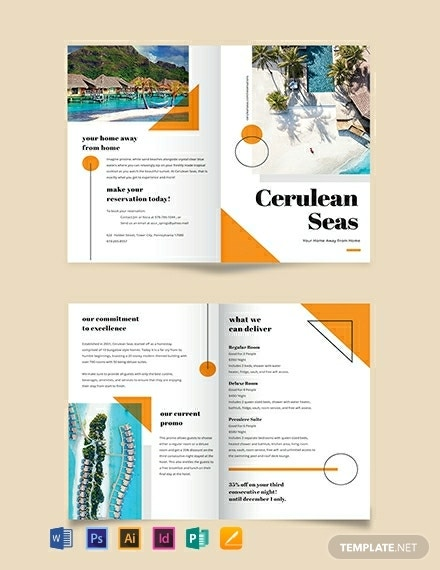 cerulean resort half fold brochure template