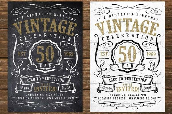 chalk-vintage-birthday-flyer-template