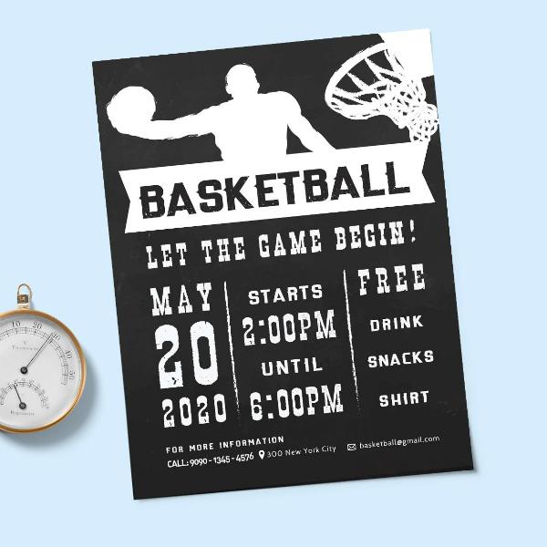 chalkboard basketball sports flyer format