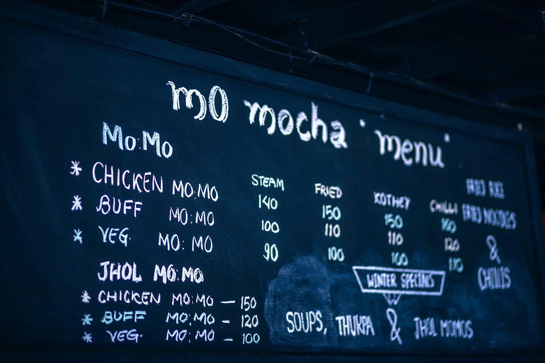 chalkboard menu feature
