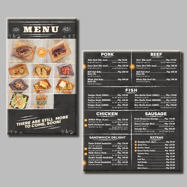 chalkboard theme barbecue menu format