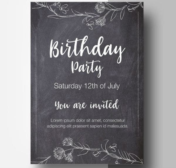 chalkstyle birthday party flyer template