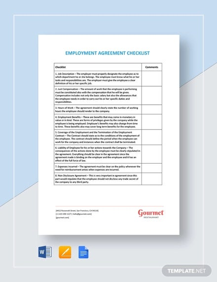 checklist employment agreement template